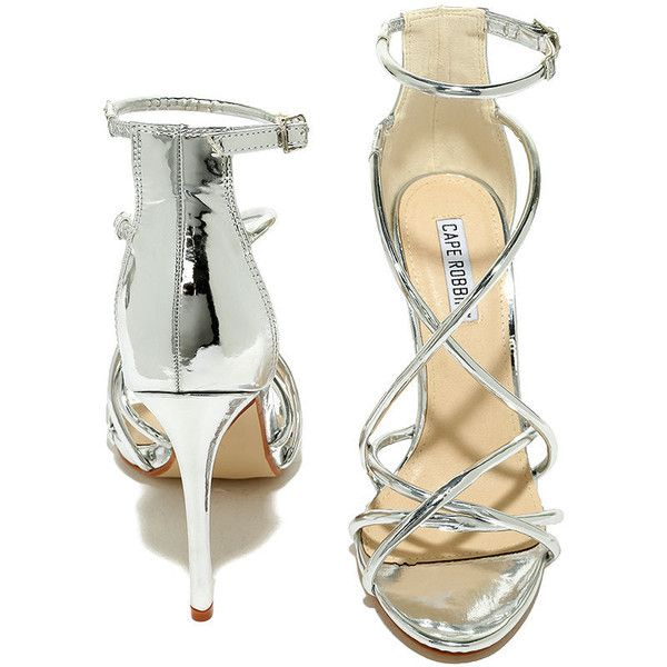 Jeanne Silver Dress Sandals ($37) ❤ liked on Polyvore featuring shoes, sandals, dress sandals, ankle strap sandals, ankle strap dress sandals, silver shoes and silver dress sandals