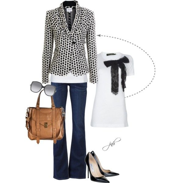 Outfit: Outfits, Fashion, Polka Dots, Casual Friday, Black And White, Jeans, Jackets, Bows, Blazers