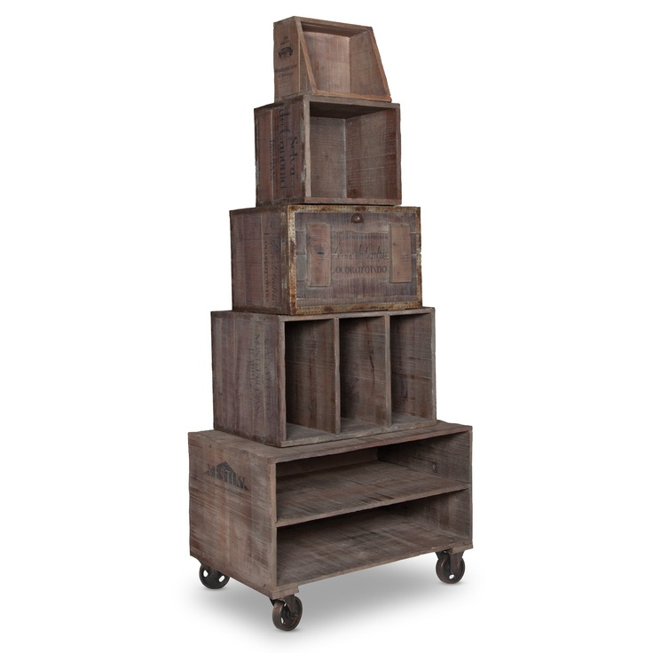 funky, rustic shelving! Artifacts Wine Crate Display | Shop at the Foundary