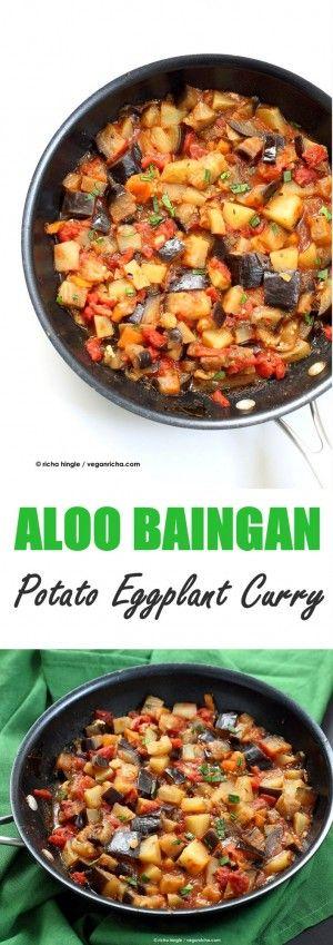 Easy Indian spiced Eggplants and Potatoes. Aloo Baingan Recipe. Curried Potato Eggplant side. | VeganRicha.com vegan glutenfree Indian