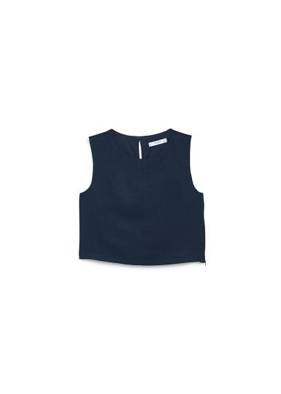 Sleeveless textured top with round neck, keyhole detail at back and inner  lining.