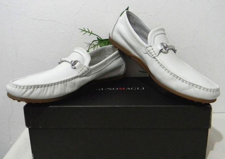 Bruno Magli Men's White Loafer Leather Dress Italian Shoes Size US 11.5 NEW $375 #BrunoMagli #LoafersSlipOns
