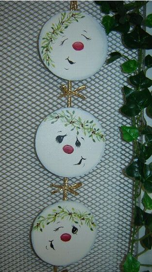 Oh my gosh....these are just adorable little snowman heads...I'm an ornament nut, but these would make some adorable ones, as well as a wallhanging...so many ideas of what I could do with an idea like this