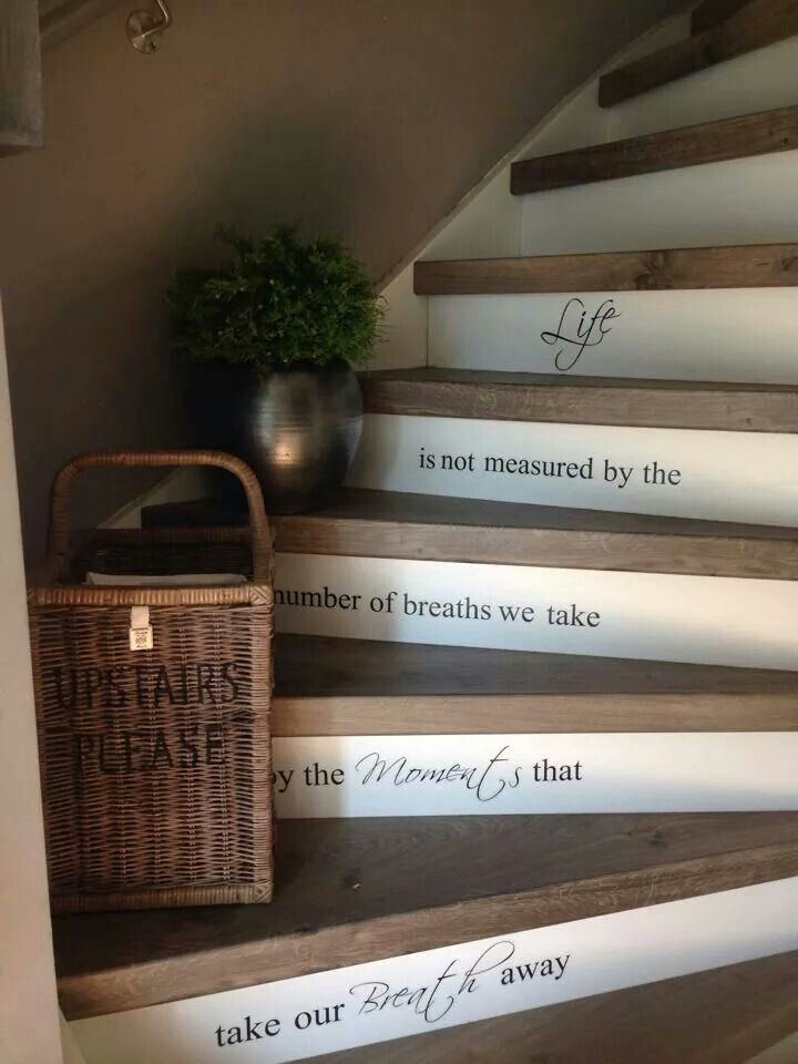 Mooie trap misschien met een andere tekst moodbord ideas home pinterest house met and - Hoe kleed je een witte muur ...