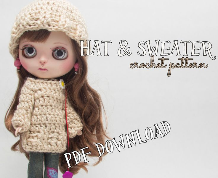 Crochet PATTERN - Blythe doll clothes, hat and sweater, beanie, pullover, intermediate crocheter, crochet pattern, blythe doll clothes, DIY by Theordinarydiary on Etsy
