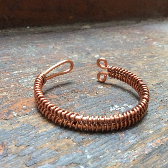 Copper Bracelet / Copper Bangle with woven design. [Copper Jewellery by Derek McQueen]