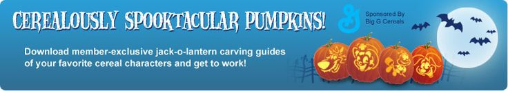 Betty Crocker Pumpkin Carving Templates. Like the Lucky Charms Leprechaun & the Trix Rabbit...
