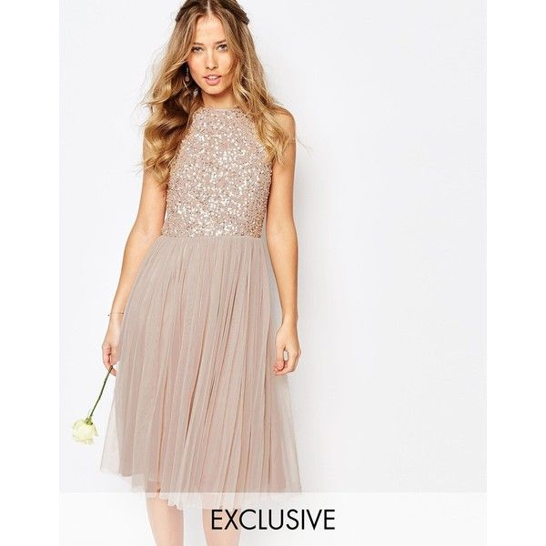 Maya High Neck Midi Tulle Dress With Tonal Delicate Sequins (€100) ❤ liked on Polyvore featuring dresses, mink, tulle dress, sequin dress, midi dress, white cocktail dresses and white sequin dress