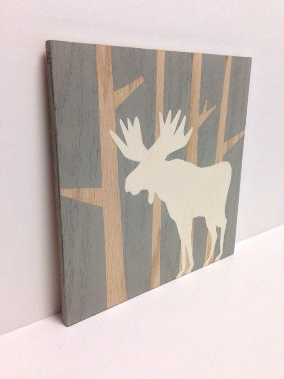 "Hand painted 12""x 12"" Moose Wall Art on Wood, Gray Nursery Decor, Moose Painting, Woodland Nursery Art, Modern Kids Art, Wood Wall Art"