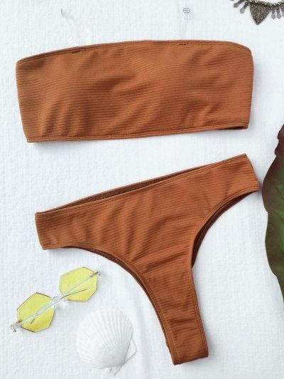 SHARE & Get it FREE | Textured High Leg Bandeau Bikini Set - Brown LFor Fashion Lovers only:80,000+ Items • New Arrivals Daily Join Zaful: Get YOUR $50 NOW!
