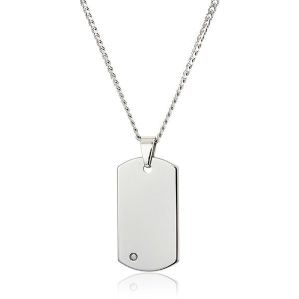 Crucible Jewelry Mens Tungsten Carbide Diamond Dog Tag Curb Chain... ($160) ❤ liked on Polyvore featuring men's fashion, men's jewelry, men's necklaces, mens curb chain, mens tungsten necklace, mens diamond necklace, mens pendant necklace and mens curb chain necklace
