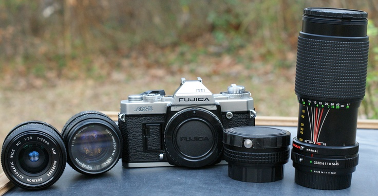 My SLR, a Fujica AX-3 and the lenses I got with it, all for less than $30 from shopgoodwill.com #Fujica #SLR #AX3