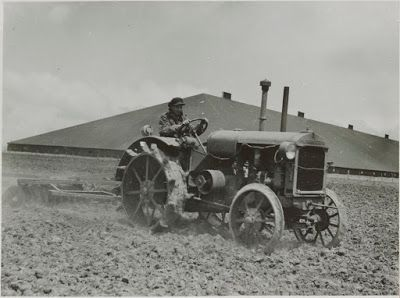 'Ploughing at Murtoa' outside the Stick Shed, probably early 40s, taken by the State Rivers & Water Supply Commission.
