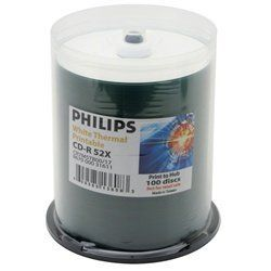 100 Philips 52x CD-R 80min 700MB White Thermal Hub in Cake Box by Philips. $33.44. Philips the innovator of CD technologies offers one of the most complete ranges of CD recordable media. They are available in more than 20 added-value packaging variations. These CD-R's are the best quality for preserving your valuable data on CD. With these Philips CD-R's you're getting ultimate convenience since you're able to access your data on most existing CD-ROM players - one disc for a...