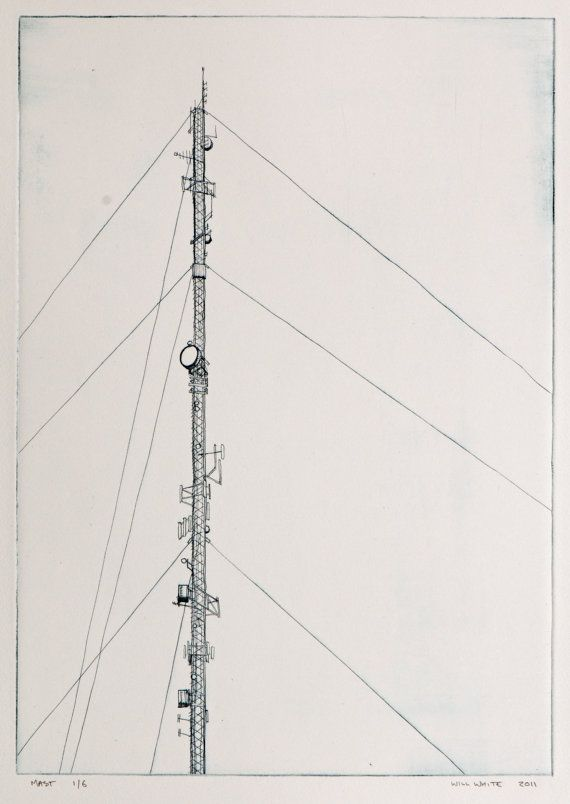 Mast Print  Drypoint by williamwhiteart on Etsy, $80.00