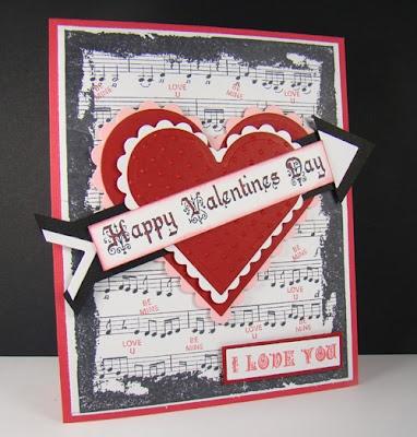 Valentine card using Winter Words and Shabby Music BG designed by Angela Barkhouse
