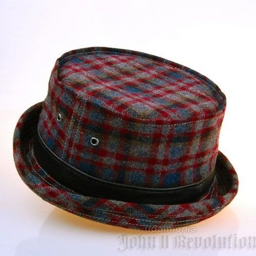 Plaid Pork Pie Hat for Men Women Upturn Fedora Trilby Porkpie Hats Wool Blend
