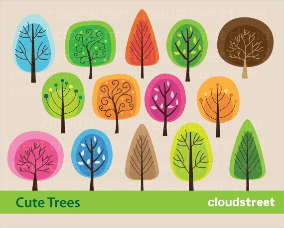 buy 2 get 1 free Cute Trees clip art for by cloudstreetlab on Etsy, $4.95