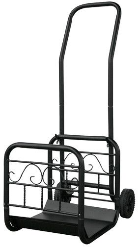 Uniflame® Black Wrought Iron Log Rack with Removable Cart on Wheels