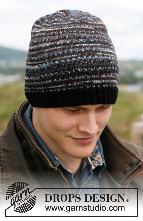 "Harry - Knitted DROPS men's hat in ""Fabel"". - Free pattern by DROPS Design"