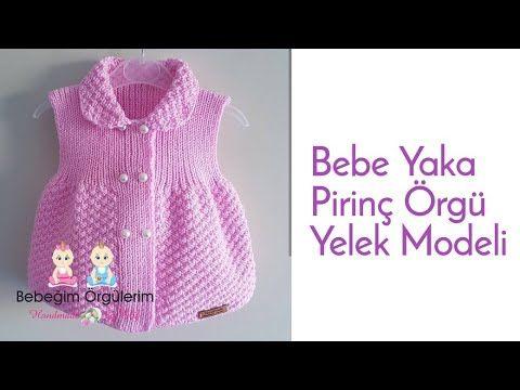 #elifpirenvise #babyknitting #babycrochet Bebe Yaka Pirinç Örgü Yelek Modeli …