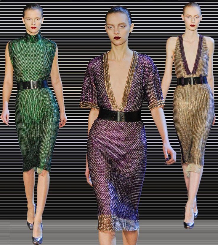 Fashion & Lifestyle: Yves Saint Laurent Chainmail Dresses Fall 2012 Womenswear