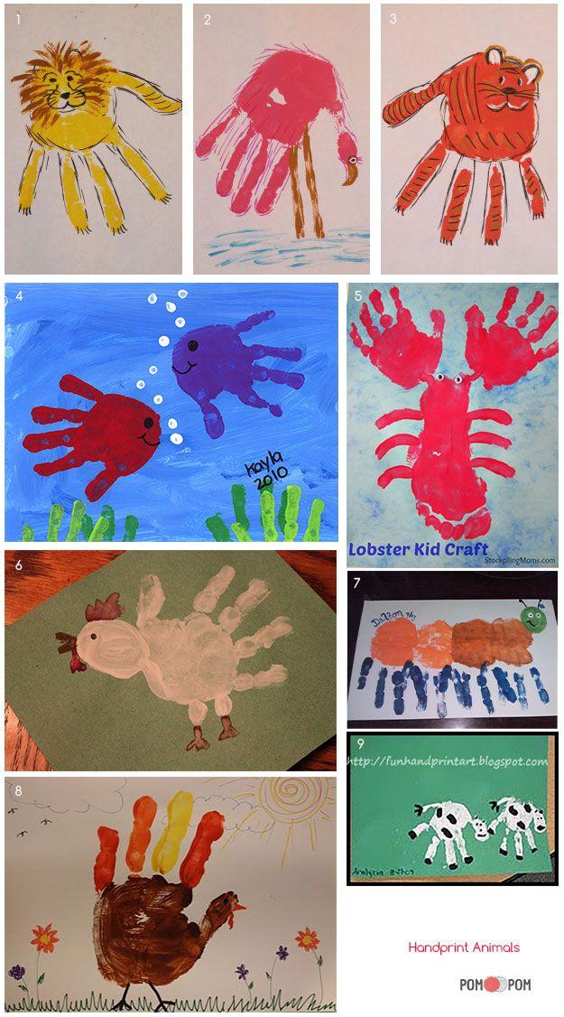 δαχτυλομπογιες ζωακια - Handprint Animals