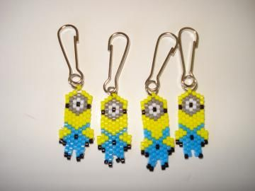 Reserved Listing: 4 Minion Zipper Pulls