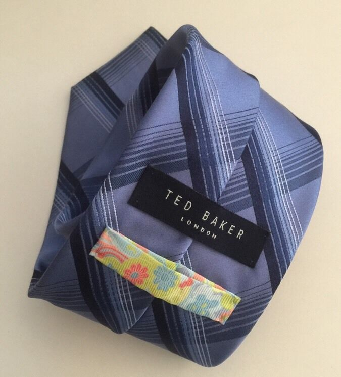 Ted Baker Tie Silk Multi Color Baby Blue Navy Hipster Mod | eBay