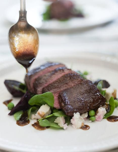 Al Brown's Roasted Lamb Backstraps with Baby Beetroot, Watercress and