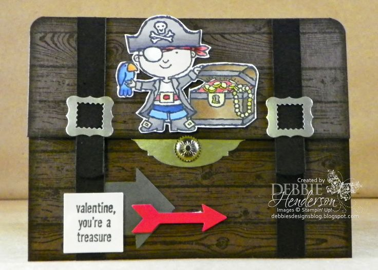 Carte pour invitation à 1 anniversaire enfant Stampin' Up! Hey, Valentine. Treasure Chest fold card by Debbie Henderson, Debbie's Designs.