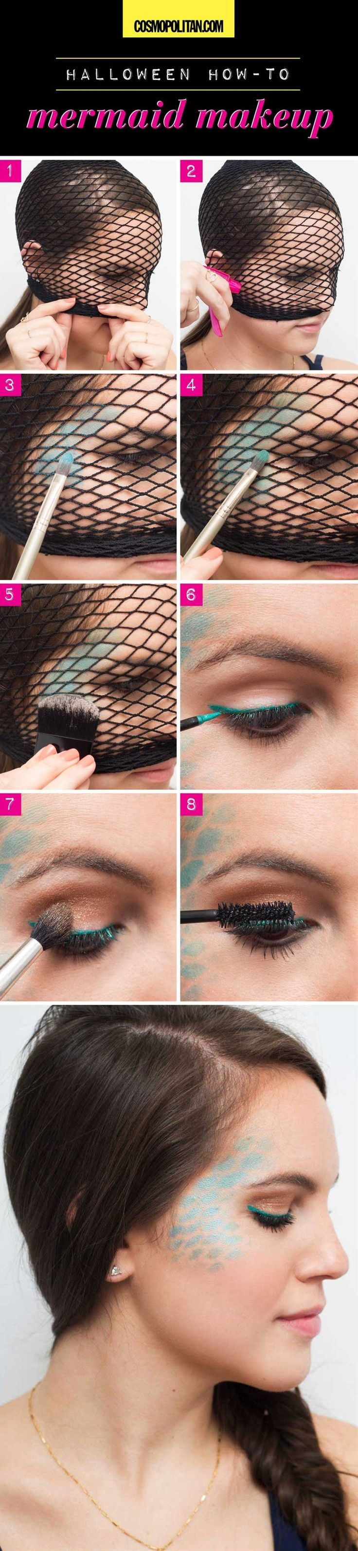 Try this easy mermaid makeup look by using fishnet tights to stencil some scales on your face