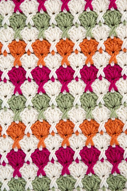 Juicy Fruits and Whipped Creme blanket, free pattern by Red Heart
