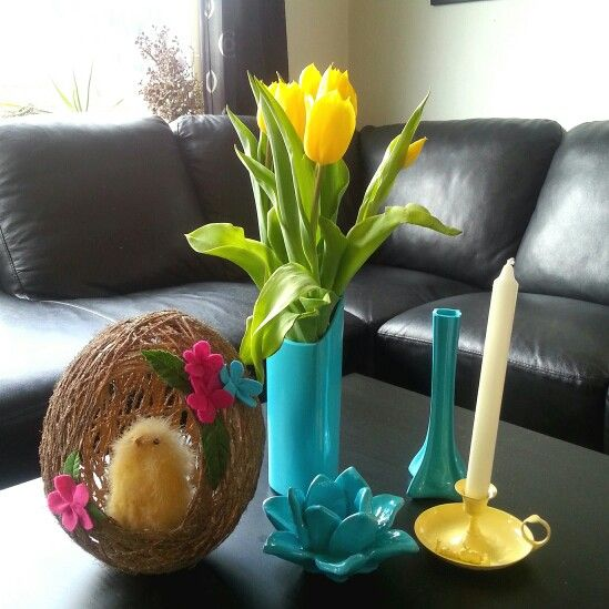 String ball-egg. Spraypainted vases and candlesticks.