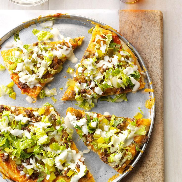 Dill Pickle Hamburger Pizza Recipe- Taste of Home