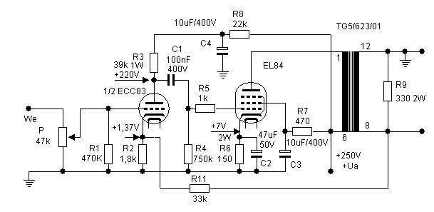 znalezione obrazy dla zapytania schemat wzmacniacza lampowego na el34