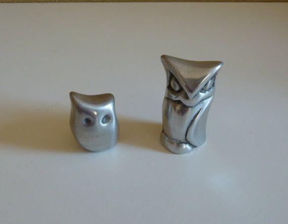 Vintage Pair of Aluminium Owl Figurine - Hoselton Studios, Canada - Collectible Miniature Home Decor