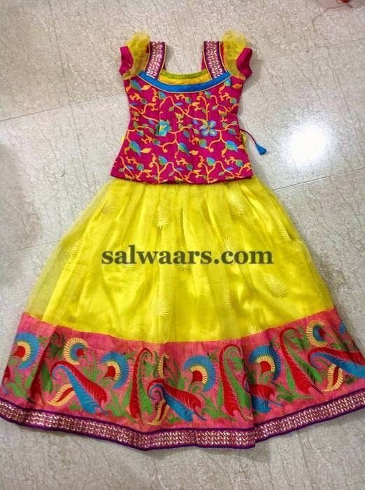 Yellow Printed Skirt with Blouse - Indian Dresses