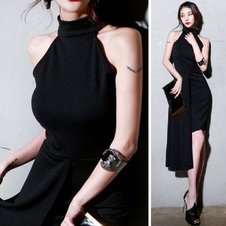セクシーモード系で同性ウケ アメリカンスリーブのミモレ丈ブラックワンピース - 韓国プチプラパーティードレス通販『TENDERLY DRESS』結婚式二次会お呼ばれ