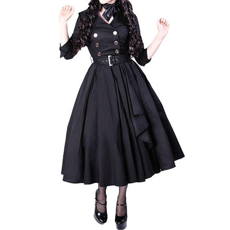 Elegante Pin-Up 50's retro long coat - #Vintage #Rockabilly #Gothic #edgy www.attitudeholland.nl