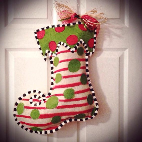 Holiday Decor/ Christmas Burlap Door Hanger by SimplyShabbyByBella, $28.00