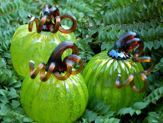 Set of three Small Halloween glass Pumpkins  by GlassGardensNW, $104.85: Glasses Gardens, Brown Stems, Halloween Glasses, Transparent Limes, Small Halloween, Gardens Art, Glasses Crafts, Glasses Pumpkin, Three Small