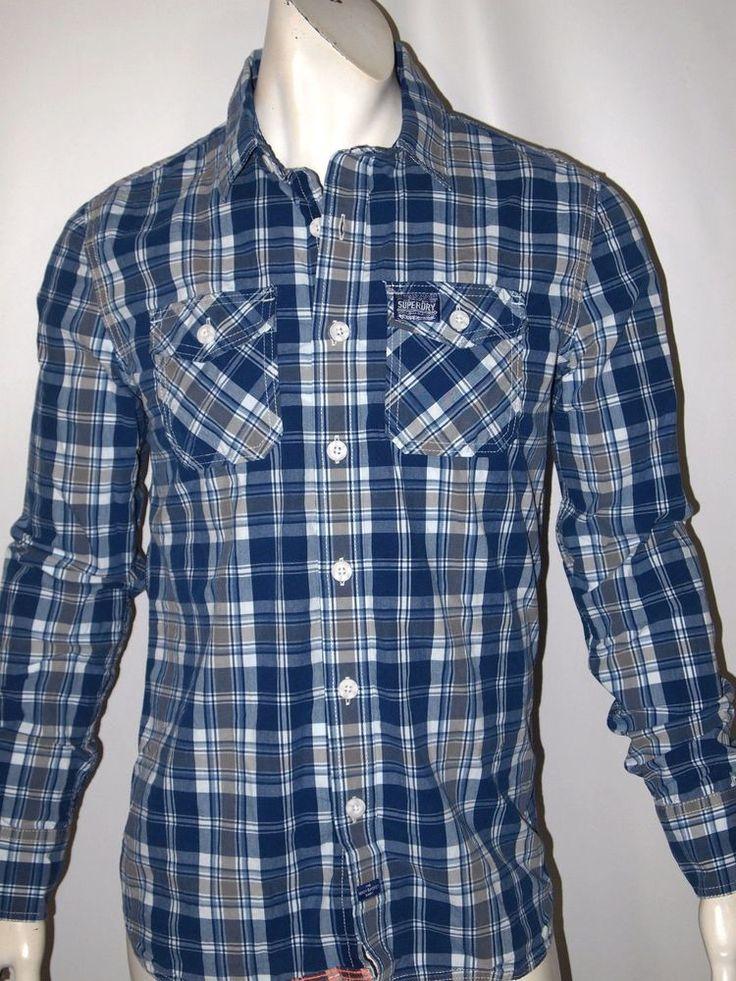 Superdry men's plaid lava wash casual shirt size large NWT on sale #superdry #ButtonFront