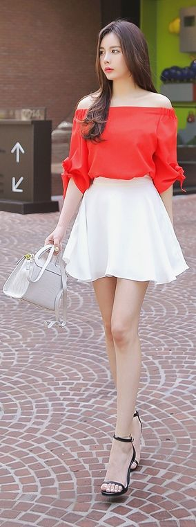 Korean Fashion Online Store 韓流 Trends  Luxe Asian Women 韓国 Style Clothes Shop korean style clothing Red Ribbon Blouse Top