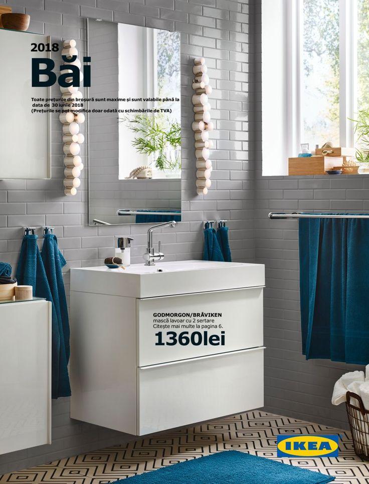 Catalog IKEA Mobilier pentru Baie 2018! Oferte si recomandari: Godmorgon masca lavoar cu 2 sertare 1.360 lei; Lundskar baterie lavoar cu sifon 340 lei