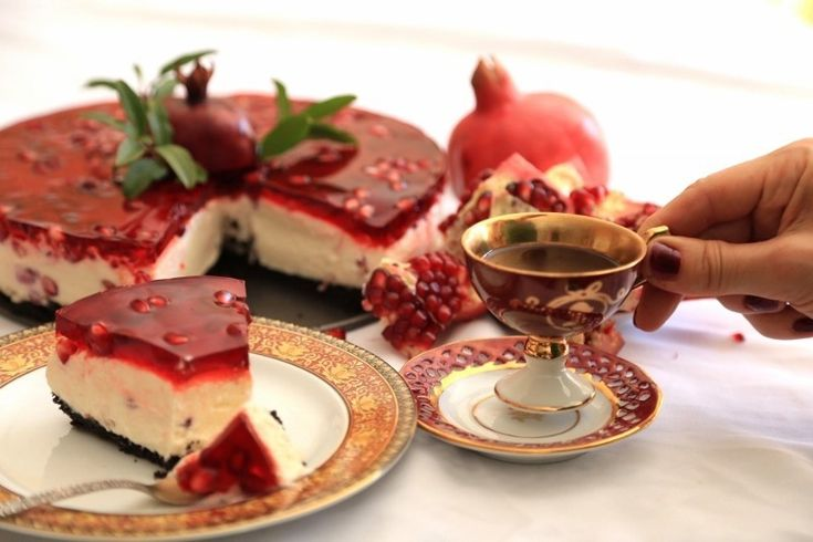 My favorite Pomegranate Cheesecake:When my favorite pomegranates are in season, many delicious things can happen in the kitchen. Love using them in my tarts