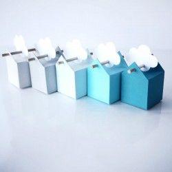 Les boîtes : gris clair, gris galet, bleu doux, turquoise, bleu canard et des étiquettes blanches, au choix. C'est un dégradé de bleu et de gris vraiment fin...