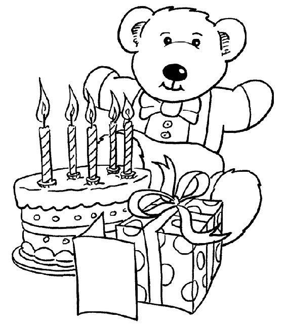 Bear happy birthday coloring page for kids