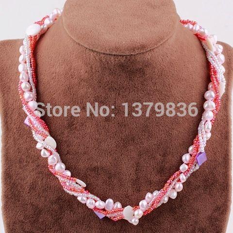 Найти ещё Массивные ожерелья Сведения о Мода стиль мульти пряди розовый и белый серии перлы раковины и стеклянные бусины ожерелье, высокое качество шарик лоток, Китай шарик ролика поставщиков, Бюджетный коралловое ожерелье из бисера из Lucky Fox Jewelry на Aliexpress.com