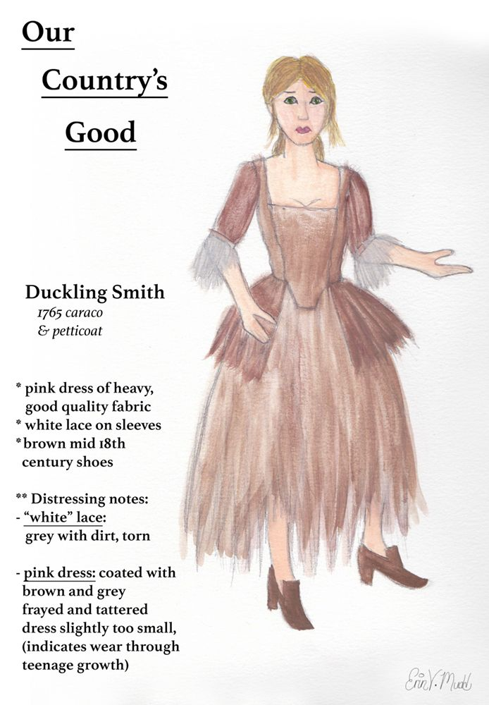 Our Country's Good -- Duckling Smith, watercolor on paper. (Digital text added to scan of original.) Created for Advanced Design class, Grossmont College, 2015